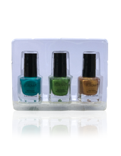 Load image into Gallery viewer, IGlow Nail Polish 3Pk (Shades - Blue, Green, Gold)