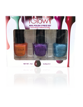 Load image into Gallery viewer, IGlow Nail Polish 3Pk (Sparkle Shades - Tiger, Violet, Sky Blue)