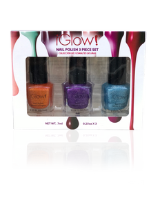 IGlow Nail Polish 3Pk (Sparkle Shades - Tiger, Violet, Sky Blue)