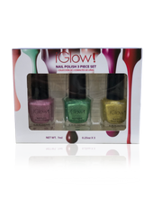 Load image into Gallery viewer, IGlow Nail Polish 3Pk (Sparkle Shades - Rose Pink, Fern Green, Yellow)