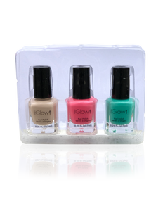 IGlow Nail Polish 3Pk (Shades - Parchment, Punch, Green)