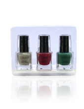 Load image into Gallery viewer, IGlow Nail Polish 3Pk (Sparkle Shades - Hazel Wood, Jam, Pine)