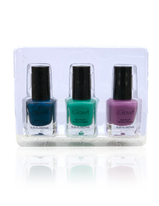 IGlow Nail Polish 3Pk (Shades - Aegean Blue, Sea Foam Green, Lavender)