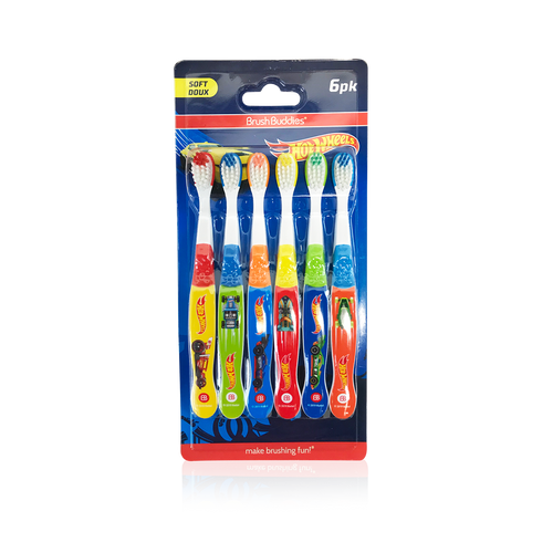 Brush Buddies Hot Wheels Toothbrush 6 Pack