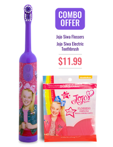JoJo Siwa Kids Electric Toothbrush + Flossers Combo
