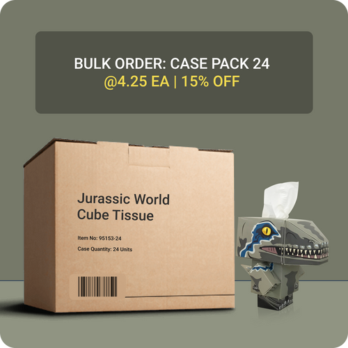 Jurassic World Cube Tissue Box - Case Pack 24 - Smart Care