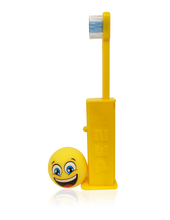 Load image into Gallery viewer, Brush Buddies Pez Poppin' Emoji Happy Face Toothbrush