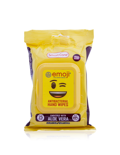 Smart Care Emoji Antibacterial Wipes 25 Count