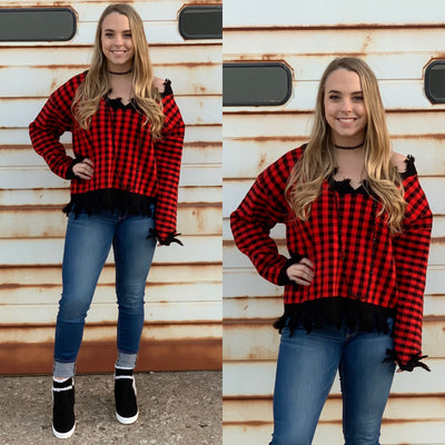Plaid Distressed Sweater - Chic Threads Clothing Co.