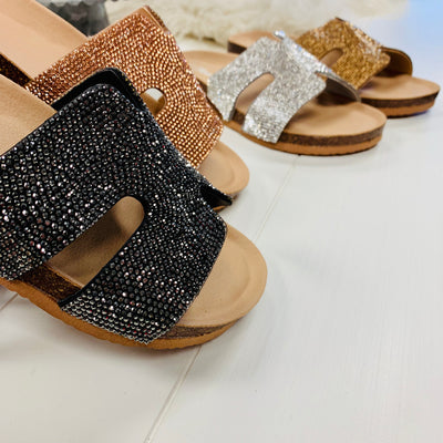 Nelli Glitzy Sandals - Black - Chic Threads Clothing Co.