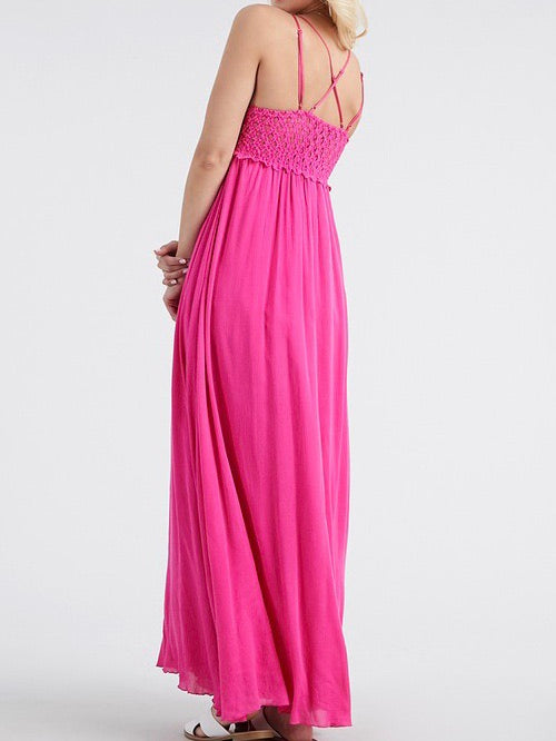 Abigail Pink Lace Maxi - Chic Threads Clothing Co.