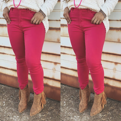 Lipstick Pink Skinnies - Chic Threads Clothing Co.