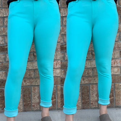 Killin' It Slip On Jeans - Turquoise - Chic Threads Clothing Co.