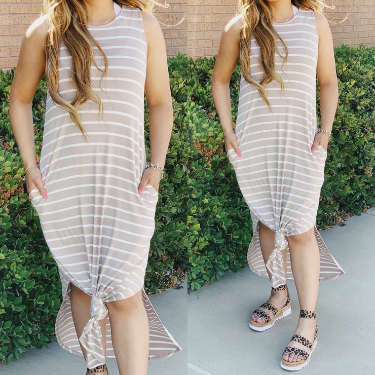 Summer Vibes Striped Dress - Ash Taupe