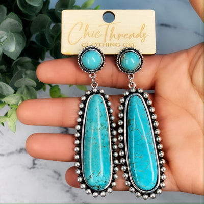 The Chic Turquoise Earrings - Chic Threads Clothing Co.