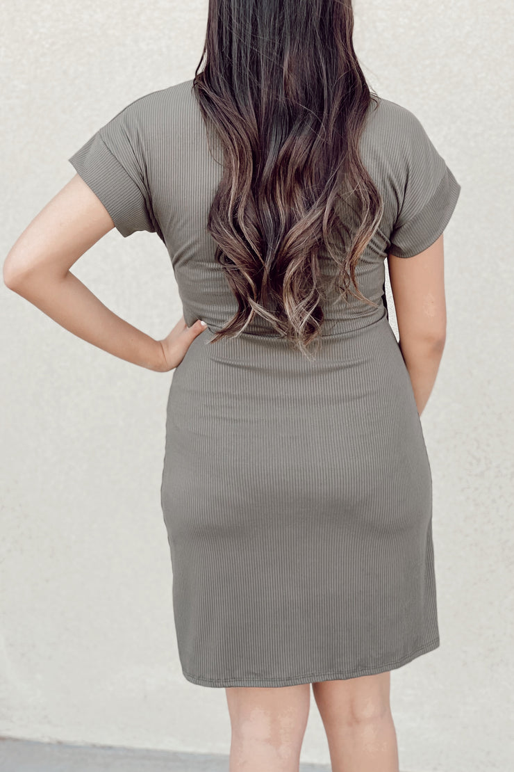 The Simple Tie Dress - Olive