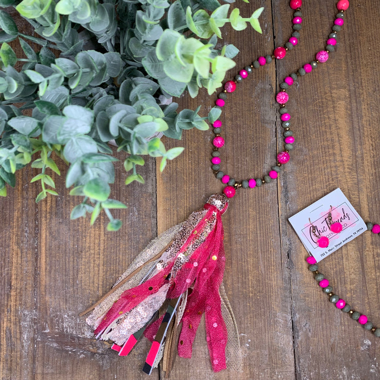 Pink Camo Tassel Necklace Set - Chic Threads Clothing Co.