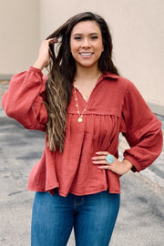 The Babydoll Blouse - Brick