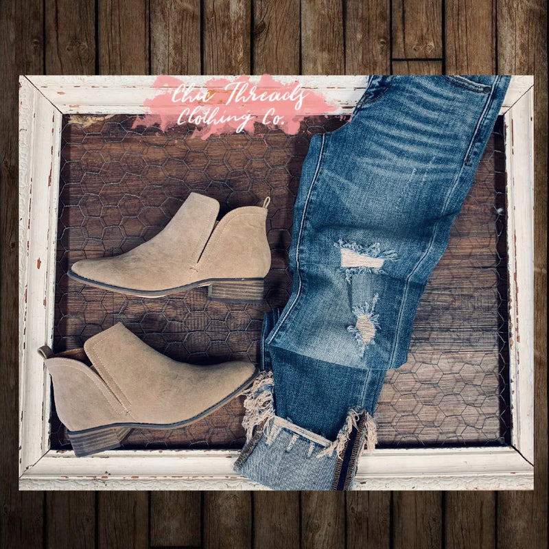 Amanda Booties - Taupe - Chic Threads Clothing Co.