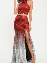 Show Stopper - Split Sequin Maxi Set - Chic Threads Clothing Co.