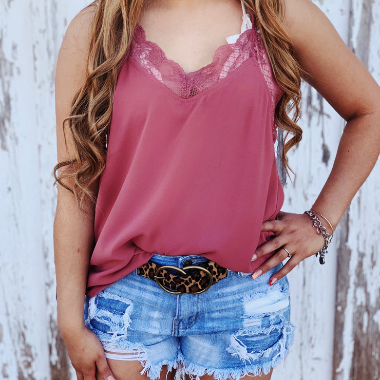 The Lace Tank - Mauve - Chic Threads Clothing Co.