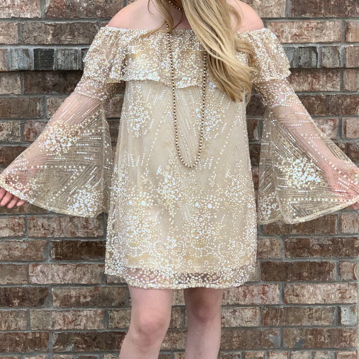 Gypsy Sunrise Bell Sleeve Dress - Chic Threads Clothing Co.
