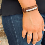 Freshwater Pearl Leather Bracelet - Chic Threads Clothing Co.