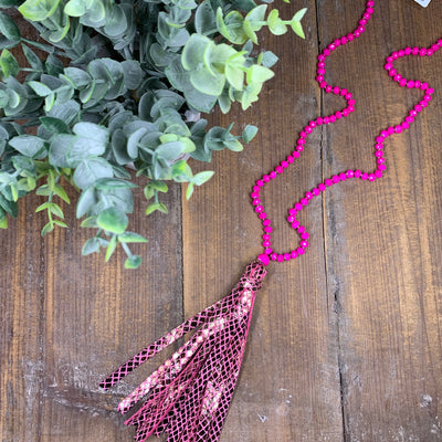 Pink Snake Tassel Necklace - Chic Threads Clothing Co.
