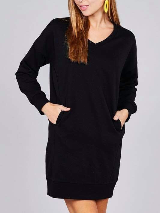 Tami Sweater Dress - Black - Chic Threads Clothing Co.