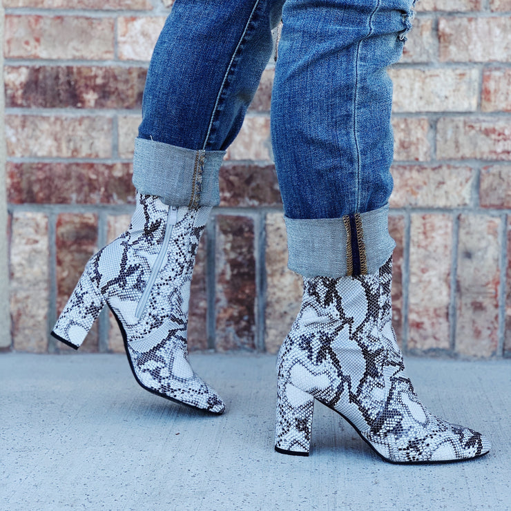 The Python Booties - Chic Threads Clothing Co.