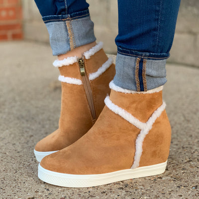 Tan Sherpa Booties - Chic Threads Clothing Co.