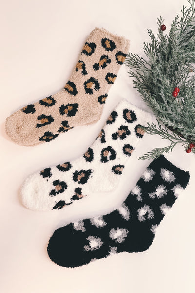 Fuzzy Leopard Socks - Choose Color