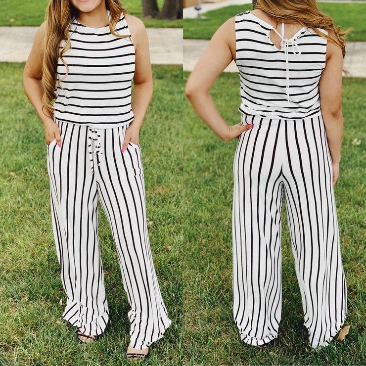 Lounge Mode Striped Pantsuit