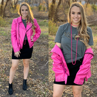 Think Pink Moto Jacket - Chic Threads Clothing Co.