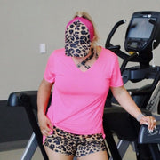 Pink Leopard Workout Ponytail Cap - Chic Threads Clothing Co.