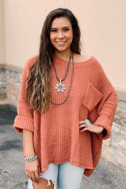 The Oversized Chenille Sweater - Rust