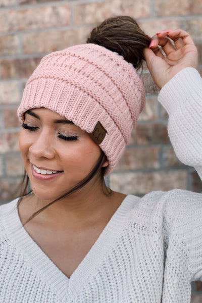 The Messy Bun Beanie - Blush