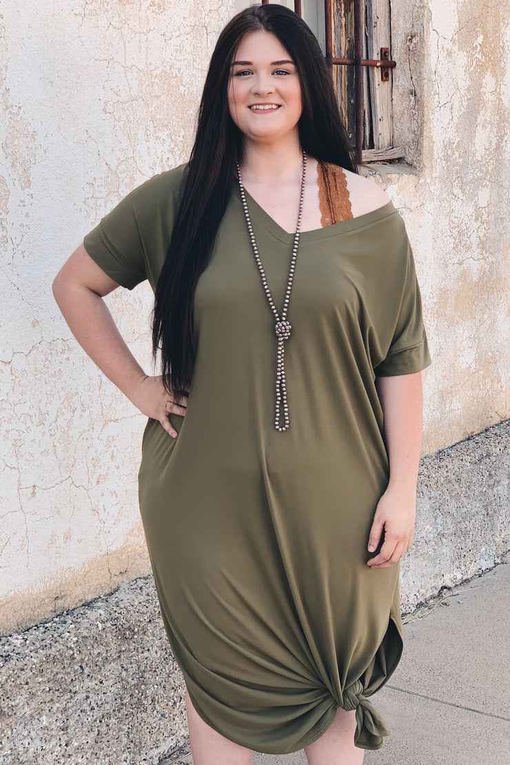 Just My Type Plus Dress - Olive