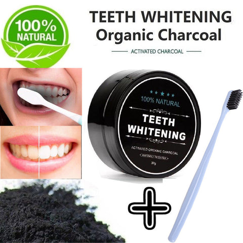 Natural Activated Charcoal Teeth Whitening Powder + Bamboo Toothbrush