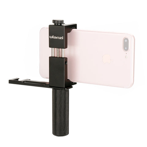 Ulanzi Smartphone Filmmaker Video Rig, Metal Phone Tripod Mount with Hot shoe + Metal Hand Grip Holder + Microphone Cold Shoe Plate Kit for iPhone Microphone LED Video Light