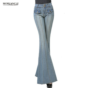 Womens Wide Leg Jeans  Stretchy Flare Denim