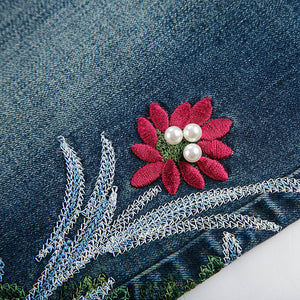 Women Stretch Jeans Embroidered Beads
