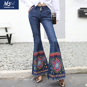 Embroidery Flower Size 26-34 Stretch Jeans