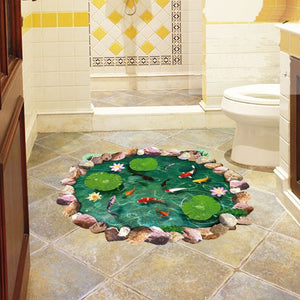 3D lotus pond Fish Floor sticker