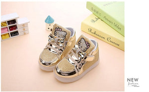 KT Cats Child Luminous Sneakers Rhinestone LED Flashing Boot