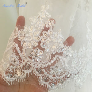 2018 Wedding Lace Veils 3 Meters 2 Layers Applique With Comb