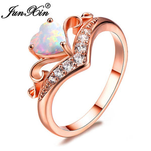 White/Blue Fire Opal Rose Gold Filled Rainbow Heart
