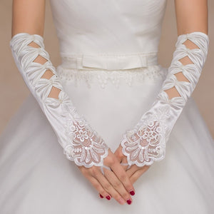 Wedding Gloves Elbow Length  White/Ivory Lace Appliqued Beaded