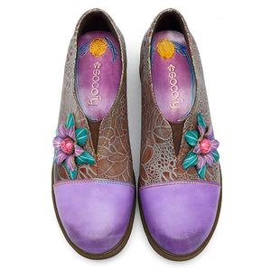 Leather Shoes Handmade Violet Flower Vintage