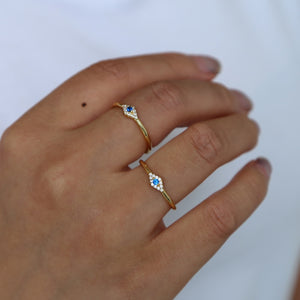 tiny blue white cz  lucky eye ring Gold filled thin finger rings